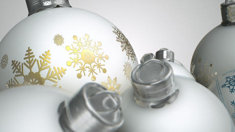 Christmas Baubels White Pan 2 stock footage