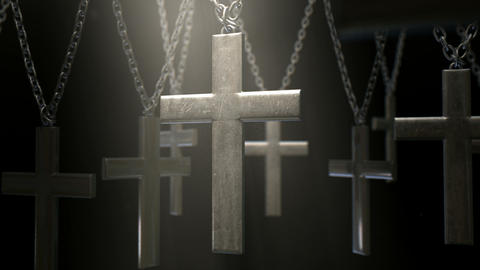 hanging crucifixes and chains spotlight flythrough Animation