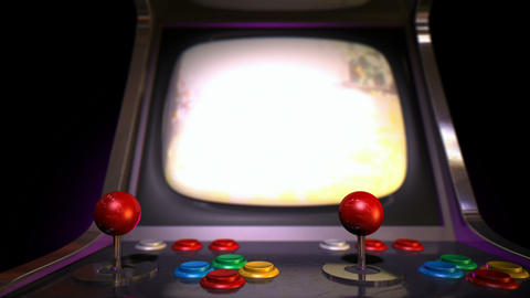 arcade machine pan across game over rack focus Stock Video Footage