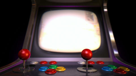 arcade machine pan across game over rack focus Animation