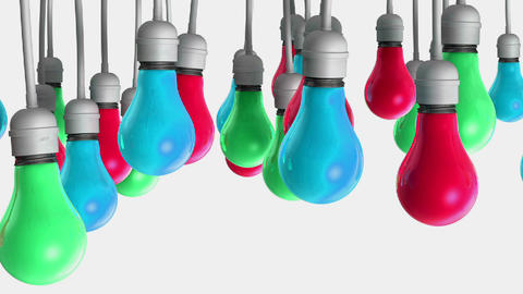 Light Bulbs Changing Colour Pan stock footage