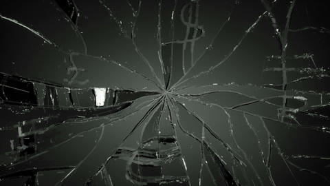 Glass broken or shattered slow motion. Alpha Stock Video Footage