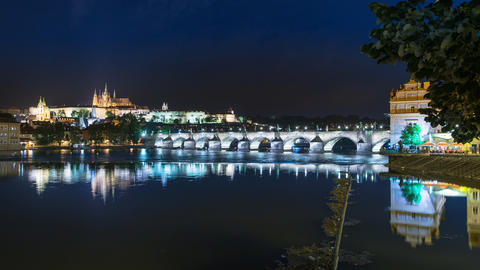4k UHD prague charles bridge castle night 11394 Footage
