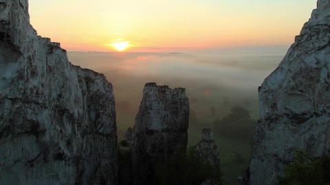 Timelapse sunrise in the mountains. Village Beloku Footage