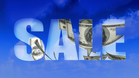 Sale Text Money From Sky - USD (Loop) stock footage