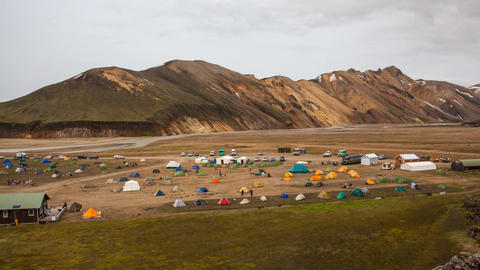 camping site in Landmannalaugar, Iceland Stock Video Footage