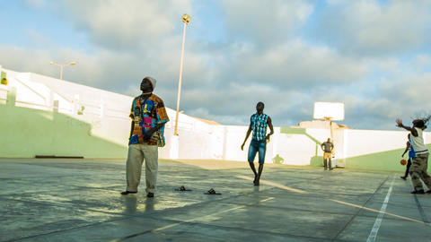 game of basketball on Cape Verde Stock Video Footage