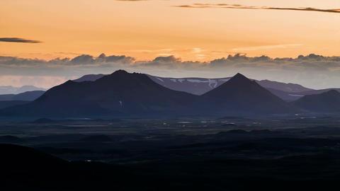 volcano plain sunset 5 2 Stock Video Footage
