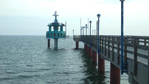 submerged gondola at a footbridge Stock Video Footage