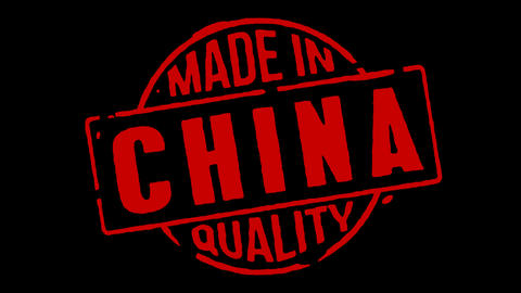 Red Rubber Stamp Made In China Stock Video Footage