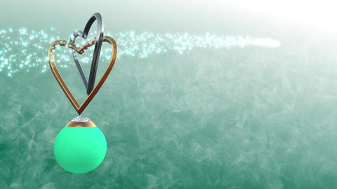 Heart ring with sphere green Stock Video Footage