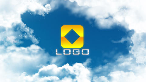 Sky Clouds Fly through Logo Reveal After Effects Template