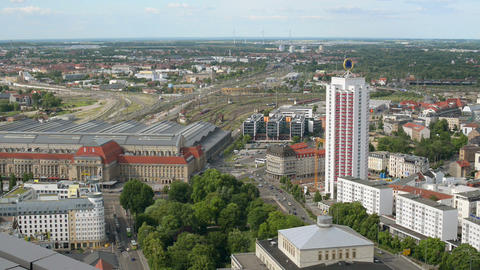 Aerial Leipzig Germany Central Station Railh 11398 stock footage