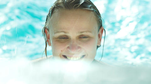 Happy Young Woman In Clear Blue Water Of The Swimm stock footage