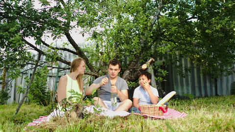 Parents with their son having picnic in the courty Stock Video Footage