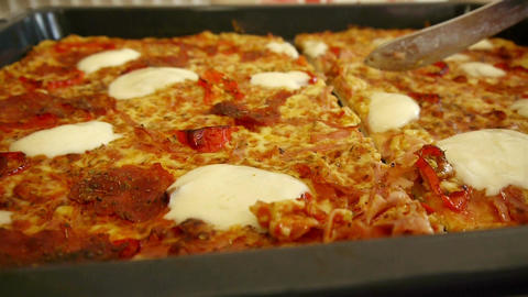 Home Made Pizza Close Up stock footage