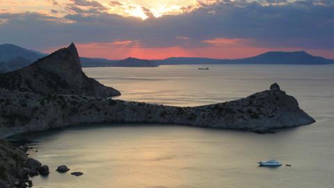 Timelapse sunrise in the mountains. Noviy Svet, Cr Footage