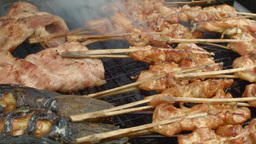 Grilled Chicken and Fish on a Stick in Thailand Stock Video Footage