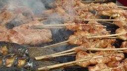 Grilled Chicken And Fish On A Stick In Thailand stock footage
