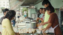 Thai Street Food Vendor Selling Various Soups Footage