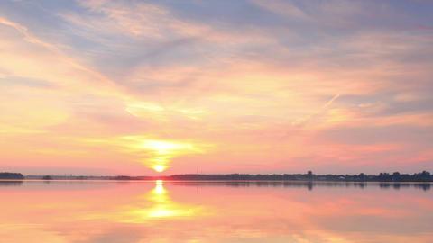Sunset over the reservoir in Vyshny Volochyok, Vys Footage