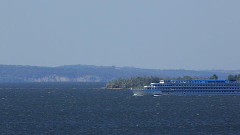 River cruise ship sailing on the river Dnieper, Uk Stock Video Footage