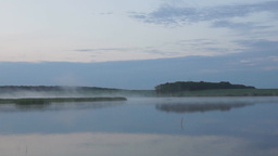 Summer Foggy Morning At A Lake stock footage