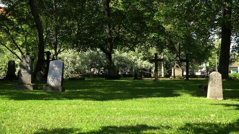 Cemetery in Lappeenranta. Finland. 4K Footage