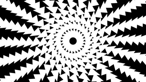 Black and white spiral of twisting triangles Animation