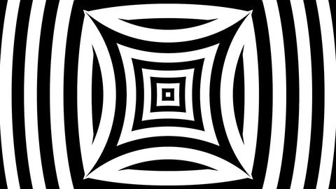 Black and white pinched square and bulging lines Animation