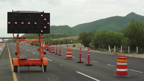 Detour Sign Construction Pylons Highway Close Footage