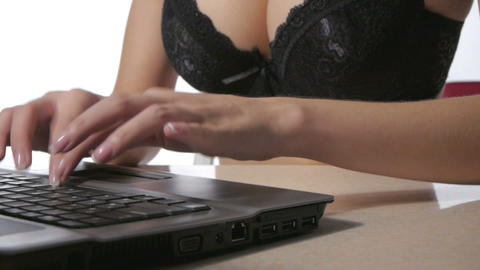 Businesswoman Working With Laptop At The Office stock footage