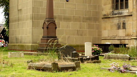 Graveyard on the back of the church Stock Video Footage