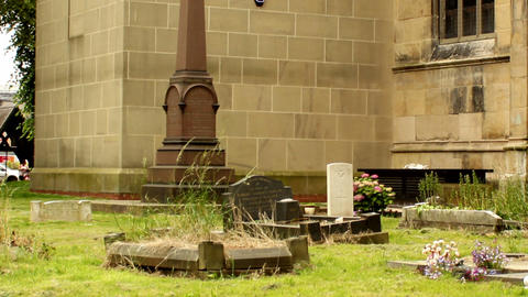 Graveyard on the back of the church Footage