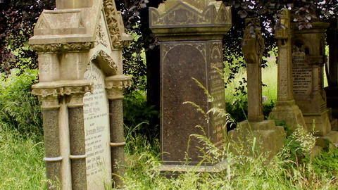 Row of funerary monuments Stock Video Footage