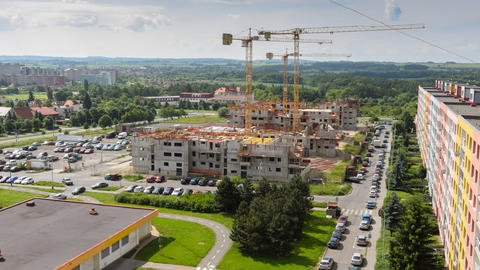 housebuilding construction wide pan time lapse 114 Footage