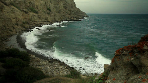motion of the waves on the beach. Mountain Meganom Stock Video Footage