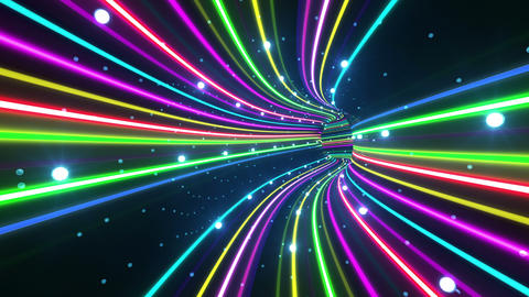 Tunnel Neon Tube BS 4 4k Stock Video Footage