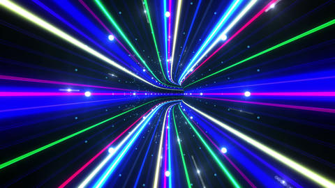 Tunnel Neon Tube EL 6 4k Stock Video Footage