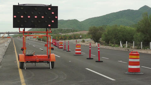 Detour Sign Pan Up No Traffic stock footage