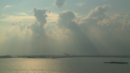HD2008-8-10-15 god clouds bargs industrial upper bay Stock Video Footage