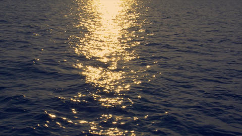 sundown reflection on wide ocean Footage