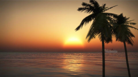 (1201S) Tropical Pacific Cruise Ship Palms Ocean Beach Sunset Animation