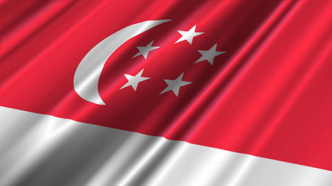 SingaporeFlagLoop02 Stock Video Footage
