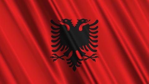 AlbaniaFlagLoop01 Stock Video Footage