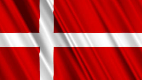 DenmarkFlagLoop01 Stock Video Footage