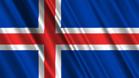 IcelandFlagLoop01 Stock Video Footage
