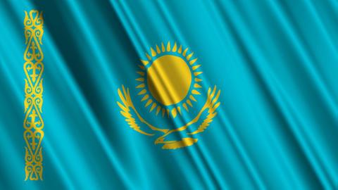 KazakhstanFlagLoop01 Stock Video Footage