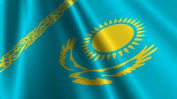 KazakhstanFlagLoop03 Stock Video Footage