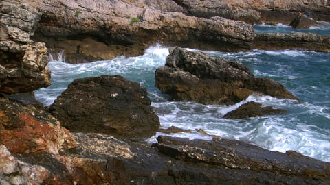 wave on rock 1 audio Stock Video Footage